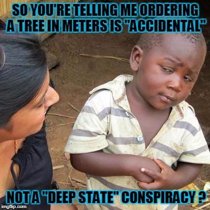 "Third World Skeptical Kid Meme | SO YOU'RE TELLING ME ORDERING A TREE IN METERS IS ""ACCIDENTAL"" NOT A ""DEEP STATE"" CONSPIRACY ? 