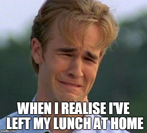 1990s First World Problems Meme | WHEN I REALISE I'VE LEFT MY LUNCH AT HOME | image tagged in memes,1990s first world problems | made w/ Imgflip meme maker