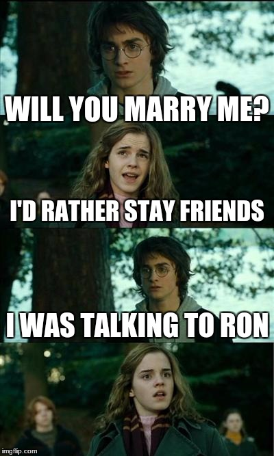 WUT? | WILL YOU MARRY ME? I'D RATHER STAY FRIENDS I WAS TALKING TO RON | image tagged in memes,horny harry | made w/ Imgflip meme maker