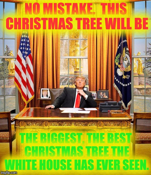 Trump Oval Office | NO MISTAKE.  THIS CHRISTMAS TREE WILL BE THE BIGGEST, THE BEST CHRISTMAS TREE THE WHITE HOUSE HAS EVER SEEN. | image tagged in trump oval office | made w/ Imgflip meme maker