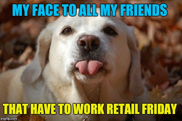 First time in 10 years I don't have to work  | MY FACE TO ALL MY FRIENDS THAT HAVE TO WORK RETAIL FRIDAY | image tagged in memes,black friday,dogs,bragging | made w/ Imgflip meme maker