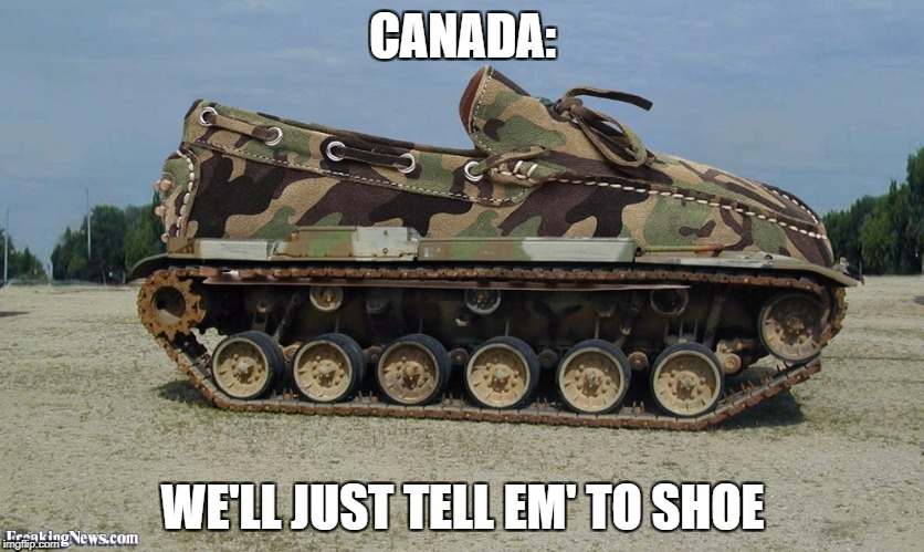 CANADA: WE'LL JUST TELL EM' TO SHOE | image tagged in shoe tank | made w/ Imgflip meme maker