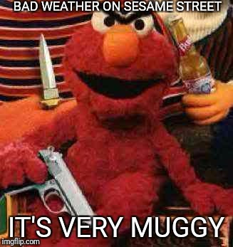 Gangsta Elmo | BAD WEATHER ON SESAME STREET IT'S VERY MUGGY | image tagged in gangsta elmo | made w/ Imgflip meme maker