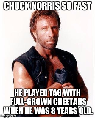 Speedy Chuck Norris | CHUCK NORRIS SO FAST HE PLAYED TAG WITH FULL-GROWN CHEETAHS WHEN HE WAS 8 YEARS OLD. | image tagged in memes,chuck norris flex,chuck norris,cheetah,funny,fast | made w/ Imgflip meme maker
