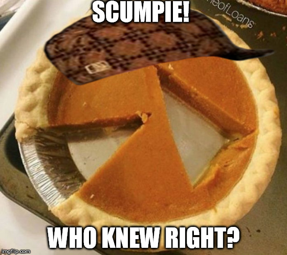 Pumpkin pie fight | SCUMPIE! WHO KNEW RIGHT? | image tagged in pumpkin pie fight,scumbag | made w/ Imgflip meme maker