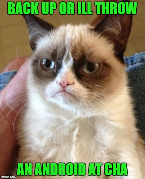 Grumpy Cat Meme | BACK UP OR ILL THROW AN ANDROID AT CHA | image tagged in memes,grumpy cat | made w/ Imgflip meme maker