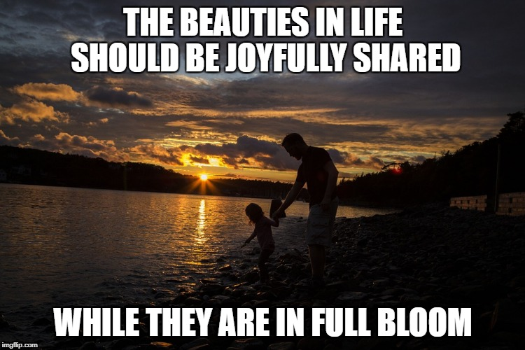 Beauties Shared | THE BEAUTIES IN LIFE SHOULD BE JOYFULLY SHARED WHILE THEY ARE IN FULL BLOOM | image tagged in beauties life | made w/ Imgflip meme maker