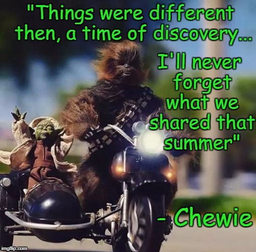 """Things were different then, a time of discovery... I'll never forget what we shared that summer"" - Chewie 