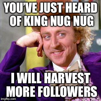 Willy Wonka Blank | YOU'VE JUST HEARD OF KING NUG NUG I WILL HARVEST MORE FOLLOWERS | image tagged in willy wonka blank | made w/ Imgflip meme maker