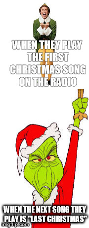 "Christmas Radio |  WHEN THEY PLAY THE FIRST CHRISTMAS SONG ON THE RADIO; WHEN THE NEXT SONG THEY PLAY IS ""LAST CHRISTMAS"" 