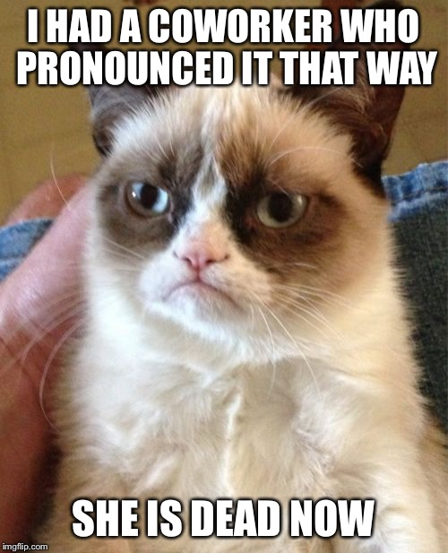 Grumpy Cat Meme | I HAD A COWORKER WHO PRONOUNCED IT THAT WAY SHE IS DEAD NOW | image tagged in memes,grumpy cat | made w/ Imgflip meme maker