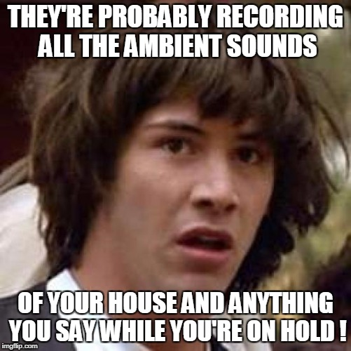 Conspiracy Keanu Meme | THEY'RE PROBABLY RECORDING ALL THE AMBIENT SOUNDS OF YOUR HOUSE AND ANYTHING YOU SAY WHILE YOU'RE ON HOLD ! | image tagged in memes,conspiracy keanu | made w/ Imgflip meme maker