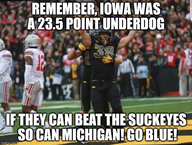 REMEMBER, IOWA WAS A 23.5 POINT UNDERDOG IF THEY CAN BEAT THE SUCKEYES SO CAN MICHIGAN! GO BLUE! | image tagged in osu sucks | made w/ Imgflip meme maker