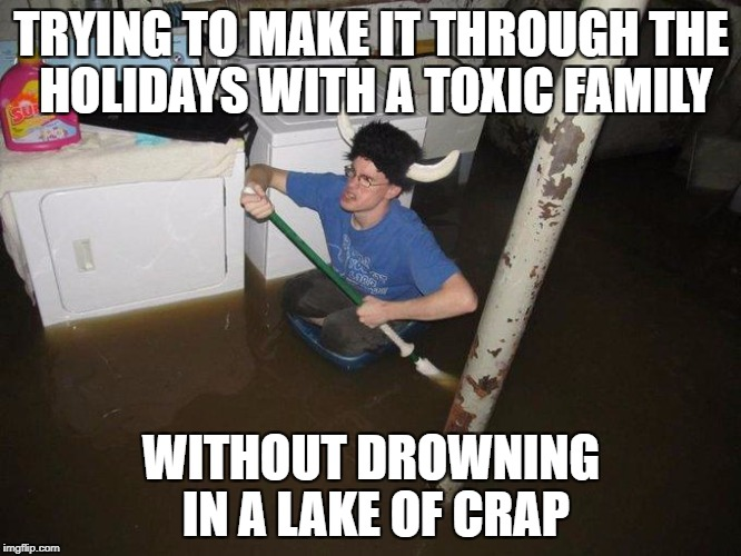 Laundry Viking Meme | TRYING TO MAKE IT THROUGH THE HOLIDAYS WITH A TOXIC FAMILY WITHOUT DROWNING IN A LAKE OF CRAP | image tagged in memes,laundry viking | made w/ Imgflip meme maker