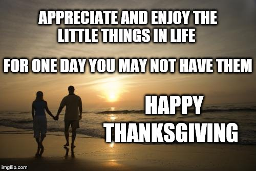 HAPPY THANKSGIVING  | APPRECIATE AND ENJOY THE LITTLE THINGS IN LIFE FOR ONE DAY YOU MAY NOT HAVE THEM HAPPY THANKSGIVING | image tagged in appreciate | made w/ Imgflip meme maker