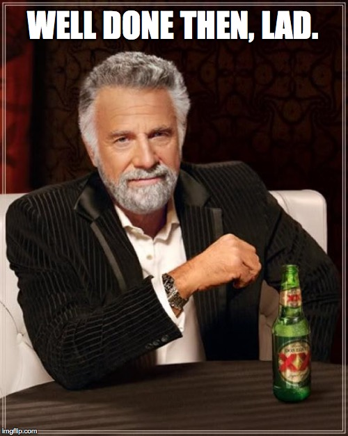 The Most Interesting Man In The World Meme | WELL DONE THEN, LAD. | image tagged in memes,the most interesting man in the world | made w/ Imgflip meme maker