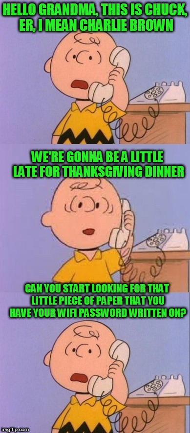 Happy Thanksgiving and God Bless! | HELLO GRANDMA, THIS IS CHUCK, ER, I MEAN CHARLIE BROWN CAN YOU START LOOKING FOR THAT LITTLE PIECE OF PAPER THAT YOU HAVE YOUR WIFI PASSWORD | image tagged in thanksgiving,charlie brown,wifi | made w/ Imgflip meme maker