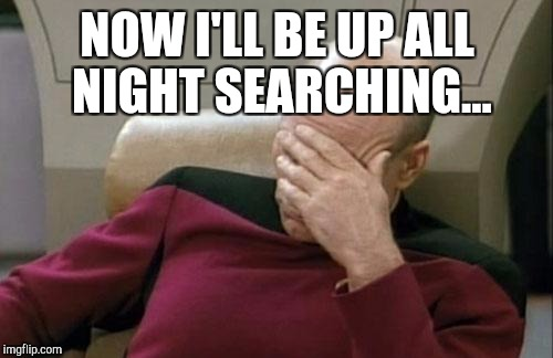 Captain Picard Facepalm Meme | NOW I'LL BE UP ALL NIGHT SEARCHING... | image tagged in memes,captain picard facepalm | made w/ Imgflip meme maker