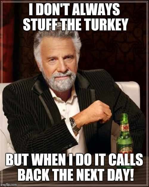 The Most Interesting Man In The World Meme | I DON'T ALWAYS STUFF THE TURKEY BUT WHEN I DO IT CALLS BACK THE NEXT DAY! | image tagged in memes,the most interesting man in the world | made w/ Imgflip meme maker