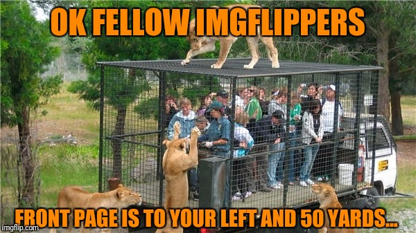 OK FELLOW IMGFLIPPERS FRONT PAGE IS TO YOUR LEFT AND 50 YARDS... | made w/ Imgflip meme maker