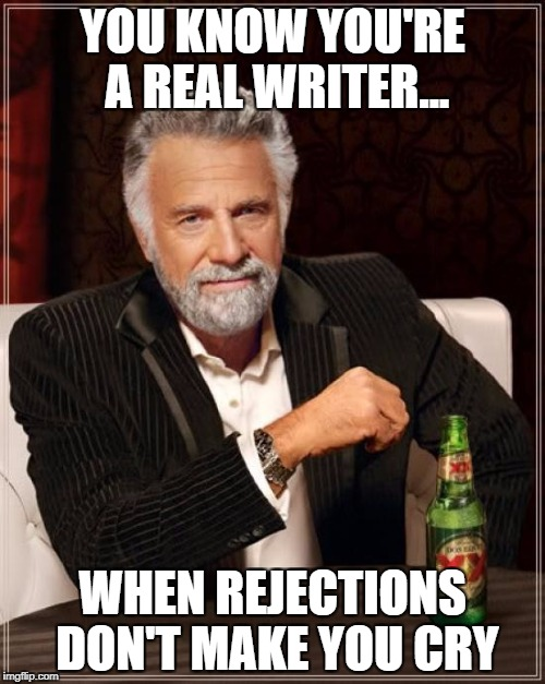The Most Interesting Man In The World Meme | YOU KNOW YOU'RE A REAL WRITER... WHEN REJECTIONS DON'T MAKE YOU CRY | image tagged in memes,the most interesting man in the world | made w/ Imgflip meme maker