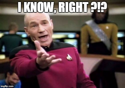 Picard Wtf Meme | I KNOW, RIGHT ?!? | image tagged in memes,picard wtf | made w/ Imgflip meme maker