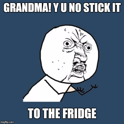 Y U No Meme | GRANDMA! Y U NO STICK IT TO THE FRIDGE | image tagged in memes,y u no | made w/ Imgflip meme maker