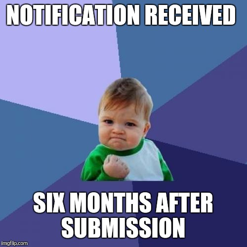 Success Kid Meme | NOTIFICATION RECEIVED SIX MONTHS AFTER SUBMISSION | image tagged in memes,success kid | made w/ Imgflip meme maker