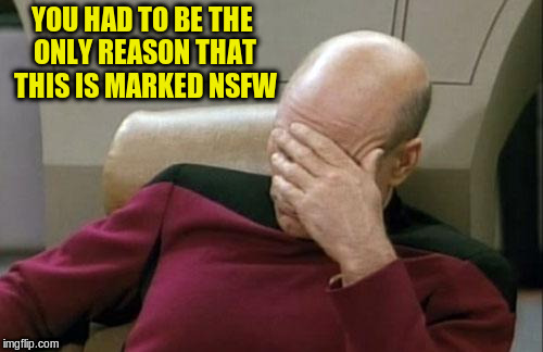 Captain Picard Facepalm Meme | YOU HAD TO BE THE ONLY REASON THAT THIS IS MARKED NSFW | image tagged in memes,captain picard facepalm | made w/ Imgflip meme maker