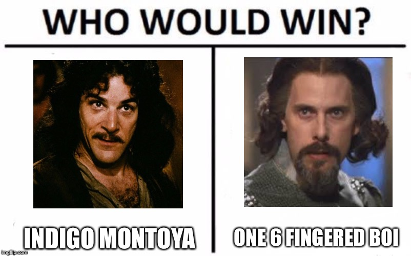 Who Would Win? Meme | INDIGO MONTOYA ONE 6 FINGERED BOI | image tagged in who would win | made w/ Imgflip meme maker