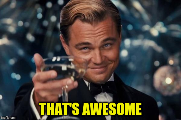 Leonardo Dicaprio Cheers Meme | THAT'S AWESOME | image tagged in memes,leonardo dicaprio cheers | made w/ Imgflip meme maker