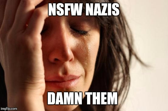 First World Problems Meme | NSFW NAZIS DAMN THEM | image tagged in memes,first world problems | made w/ Imgflip meme maker