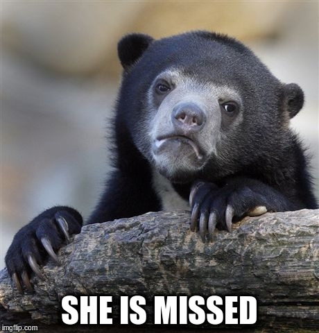 Confession Bear Meme | SHE IS MISSED | image tagged in memes,confession bear | made w/ Imgflip meme maker