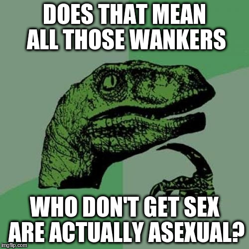 Philosoraptor Meme | DOES THAT MEAN ALL THOSE WANKERS WHO DON'T GET SEX ARE ACTUALLY ASEXUAL? | image tagged in memes,philosoraptor | made w/ Imgflip meme maker