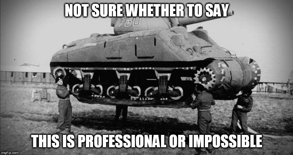 professional or impossible | NOT SURE WHETHER TO SAY THIS IS PROFESSIONAL OR IMPOSSIBLE | image tagged in tank,ww2 | made w/ Imgflip meme maker