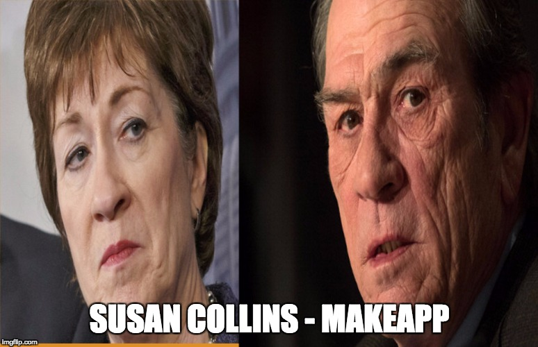 Imagine my shock when I put Maine senator Susan Collins through MakeApp | SUSAN COLLINS - MAKEAPP | image tagged in susan collins,tommy lee jones | made w/ Imgflip meme maker