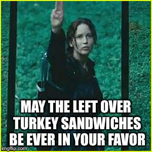 May the odds be ever in your favor | MAY THE LEFT OVER TURKEY SANDWICHES BE EVER IN YOUR FAVOR | image tagged in thanksgiving,turkey sandwiches | made w/ Imgflip meme maker