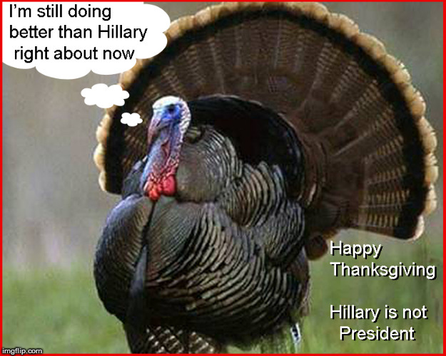 Happy Thanksgiving- Hillary is not President ! | image tagged in happy thanksgiving,hillary clinton for jail 2016,lol so funny,politics lol,turkey day,funny memes | made w/ Imgflip meme maker