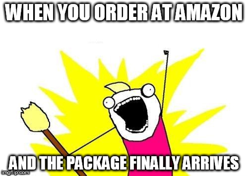 X All The Y Meme | WHEN YOU ORDER AT AMAZON AND THE PACKAGE FINALLY ARRIVES | image tagged in memes,x all the y | made w/ Imgflip meme maker