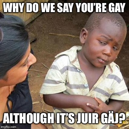 Third World Skeptical Kid Meme | WHY DO WE SAY YOU'RE GAY ALTHOUGH IT'S JUIR GÄJ? | image tagged in memes,third world skeptical kid | made w/ Imgflip meme maker