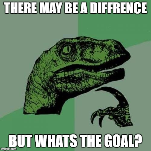 Philosoraptor Meme | THERE MAY BE A DIFFRENCE BUT WHATS THE GOAL? | image tagged in memes,philosoraptor | made w/ Imgflip meme maker