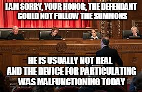 I AM SORRY, YOUR HONOR, THE DEFENDANT  COULD NOT FOLLOW THE SUMMONS HE IS USUALLY NOT REAL  AND THE DEVICE FOR PARTICULATING WAS MALFUNCTION | made w/ Imgflip meme maker