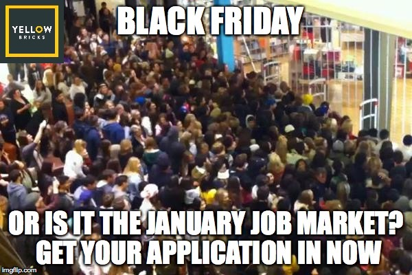 image tagged in recruitment,jobs,blackfriday,stampede | made w/ Imgflip meme maker