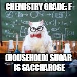 CHEMISTRY GRADE: F (HOUSEHOLD) SUGAR IS SACCHAROSE | made w/ Imgflip meme maker