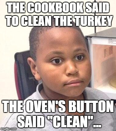 "I owe this to Foxtrot | THE COOKBOOK SAID TO CLEAN THE TURKEY THE OVEN'S BUTTON SAID ""CLEAN""... 