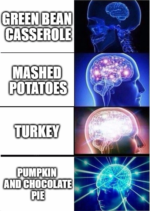 Thanksgiving Food | GREEN BEAN CASSEROLE MASHED POTATOES TURKEY PUMPKIN AND CHOCOLATE PIE | image tagged in memes,expanding brain,thanksgiving,happy thanksgiving | made w/ Imgflip meme maker