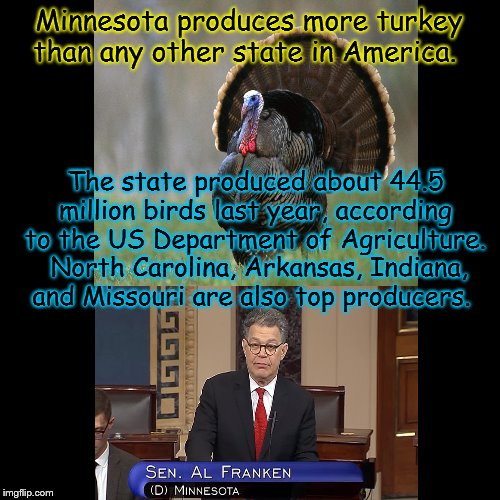 Thanksgiving | The state produced about 44.5 million birds last year, according to the US Department of Agriculture. North Carolina, Arkansas, Indiana, an | image tagged in happy thanksgiving | made w/ Imgflip meme maker