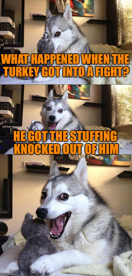 I'll give you guys some puns for the occasion ;D THXGIVING pun 1 | WHAT HAPPENED WHEN THE TURKEY GOT INTO A FIGHT? HE GOT THE STUFFING KNOCKED OUT OF HIM | image tagged in memes,bad pun dog,thanksgiving,turkey | made w/ Imgflip meme maker