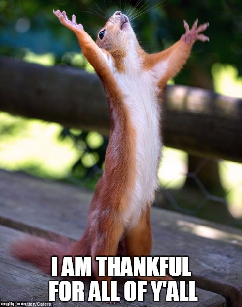 Praying Squirrel | I AM THANKFUL FOR ALL OF Y'ALL | image tagged in praying squirrel | made w/ Imgflip meme maker