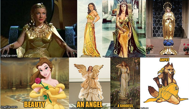 Golden female(s). | image tagged in gold,female,golden wolf,angel,queen,goddess | made w/ Imgflip meme maker